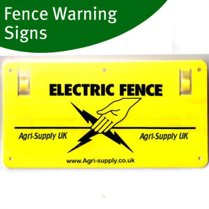 10-X-ELECTRIC-FENCE-WARNING-SIGNS-Plastic-Double-Sided-For-Poly-Rope-Tape