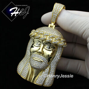 MEN-14K-GOLD-FINISH-LAB-DIAMOND-OVERSIZE-GOLD-3D-JESUS-FACE-CHARM-PENDANT-BGP6