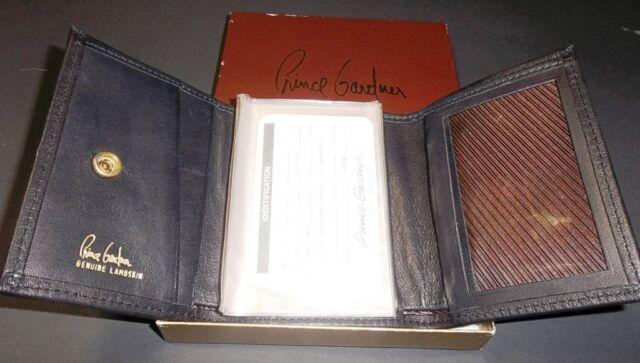 Prince Gardner Black Leather Men's Tri-Fold Wallet Vintage NOS in Box