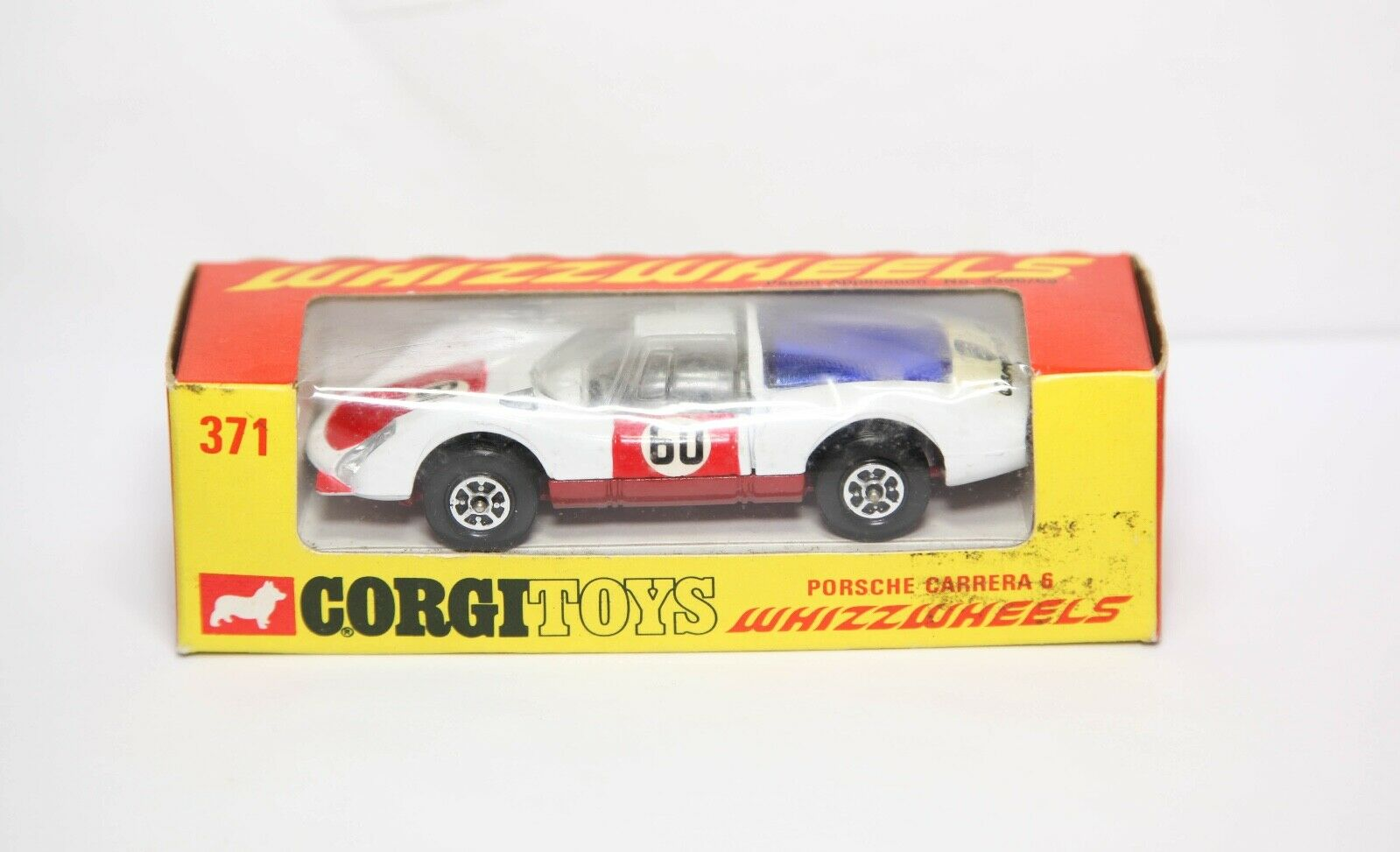 CORGI 371 PORSCHE CARRERA 6 WHIZZWHEELS dans sa boîte d'origine-Near Comme neuf Vintage