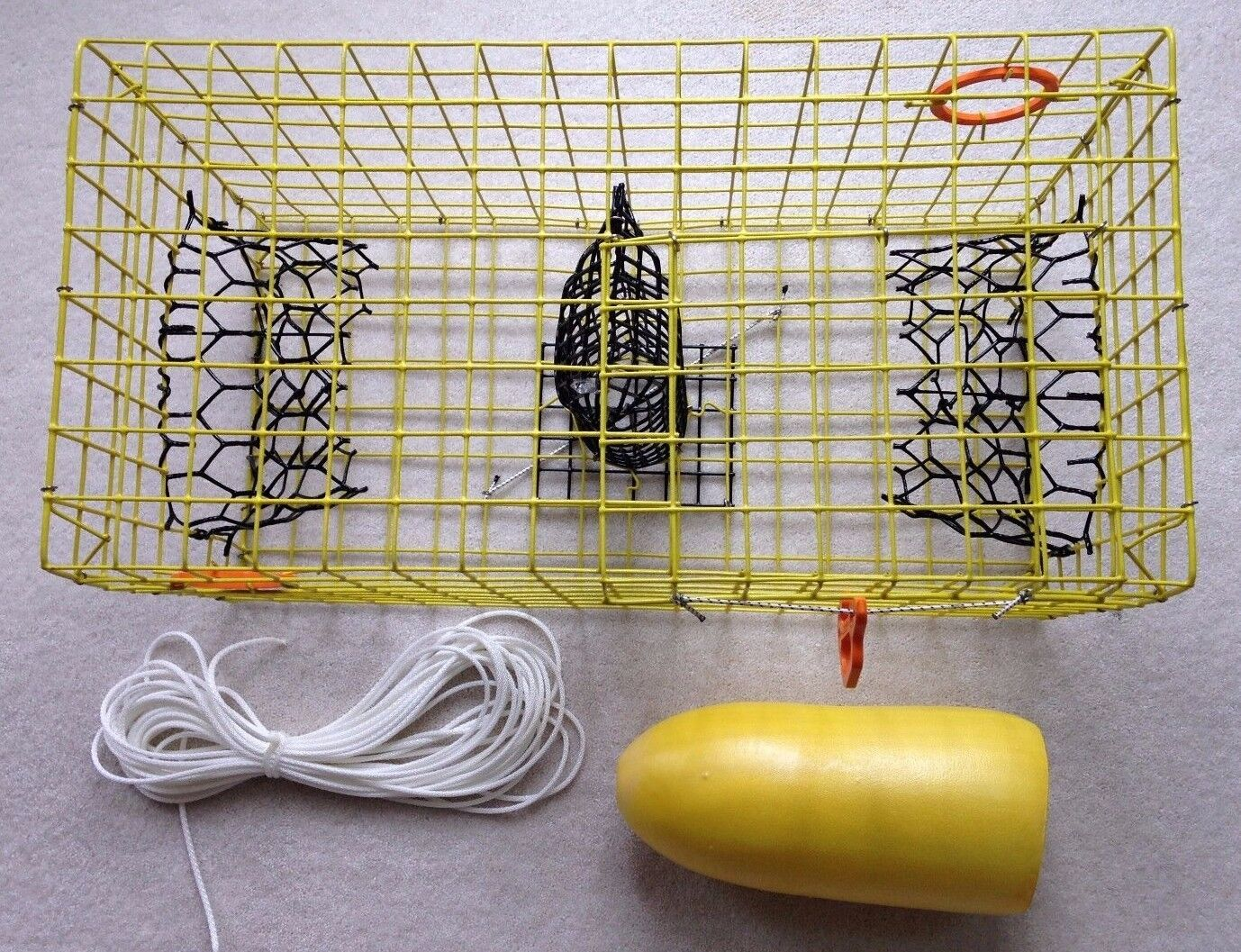 PVC Yellow Commercial Grade Crab Pot   Trap With 50 Foot Line & Yellow 5x11 Buoy