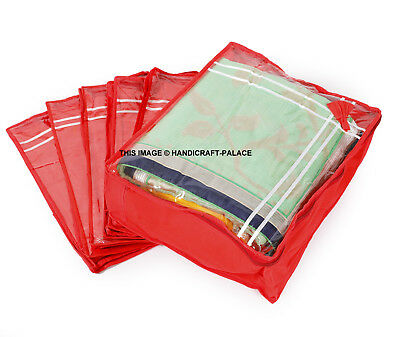 NEW 24 PCS GARMENT SAREE BEDSHEET SHIRT CASE STORAGE ORGANIZER PINK BAG COVER