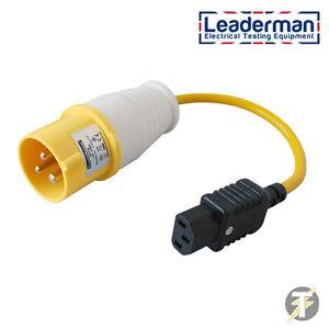 PAT-Pruefung-Adapter-Gelb-110-volt-16amp-Stecker-auf-IEC-Buchse-Sockel
