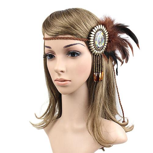 Feder Stirnband Indisch Kopfschmuck   Boho Hippie Haarband Haar Zubehör