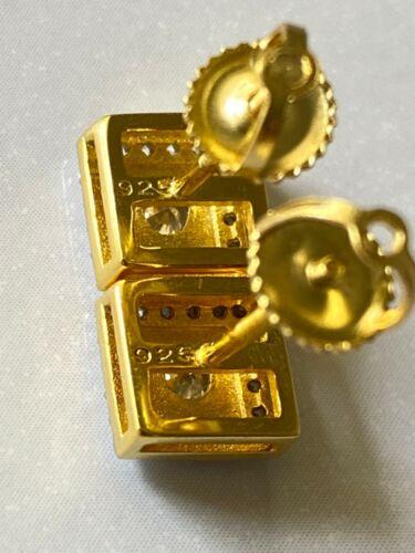 Véritable 14k or Sur L/'Italie Argent Sterling 925 Square 6 mm Screwback Clous D/'Oreilles