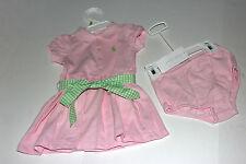 NWT Ralph Lauren BABY Girls Spring Summer 2pc Set Pink Polo Dress SZ 9 MO