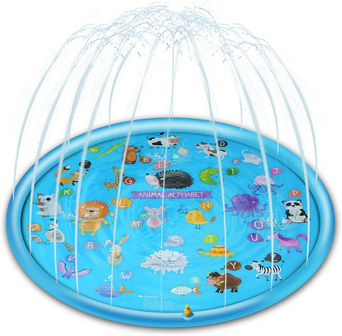 Sprinkler Splash Pad Kids Toddlers 67 inch Water Spray Play Mat ABC Animals