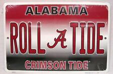 "ALABAMA ROLL TIDE CRIMSON TIDE ALUMINUM METAL SIGN MAN FAN CAVE 8""x 12"" FOOTBALL"