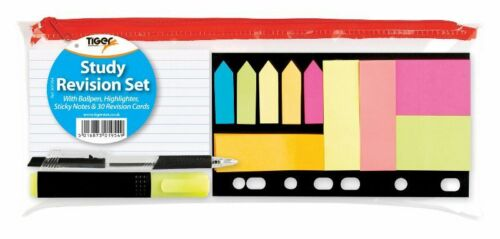 STICKY NOTES HIGHLIGHTER STUDY REVISION SET WITH BALLPEN /& 30 REVISION CARDS