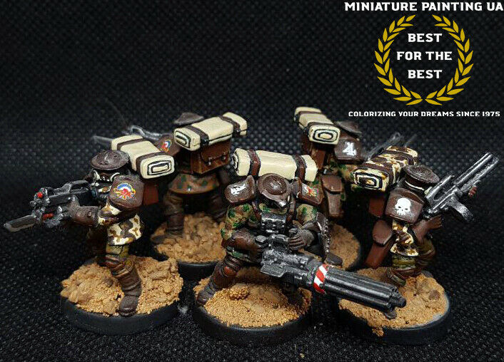 █ Warzone\WH40k Imperial Guards Trenchcers Conversion Squad Painted Kill Team