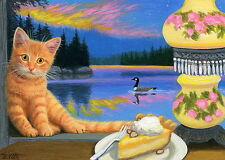 Orange tabby cat pie goose window lamp lake landscape OE aceo print of paintng