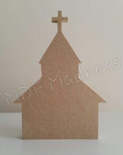 WOODEN CRAFT SHAPE FREE STANDING MDF CHURCH WITH CROSS