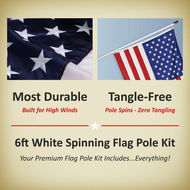 USA Thin Red Line Nylon 3 by 5-Feet US Flag Set with 6-Feet Spinning Flag Pole