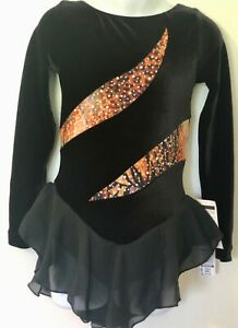 GK-BLACK-VELVET-CHILD-SMALL-LgSLV-ANIMAL-FOIL-PRINT-ICE-SKATE-DRESS-Sz-CS-NWT