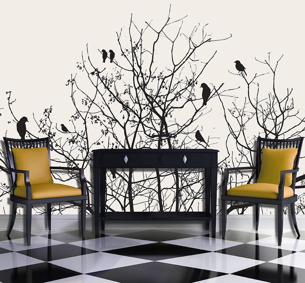 VLIES Fototapeten Fototapete Tapete Kunst Abstraktion Baum Vogel  3FX11465VE