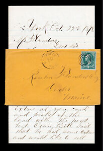 BANKNOTE-STAMP-SCOTT-158-ORANGE-COVER-KITTERY-DEPOT-ME-DPO-WITH-LETTER-1878