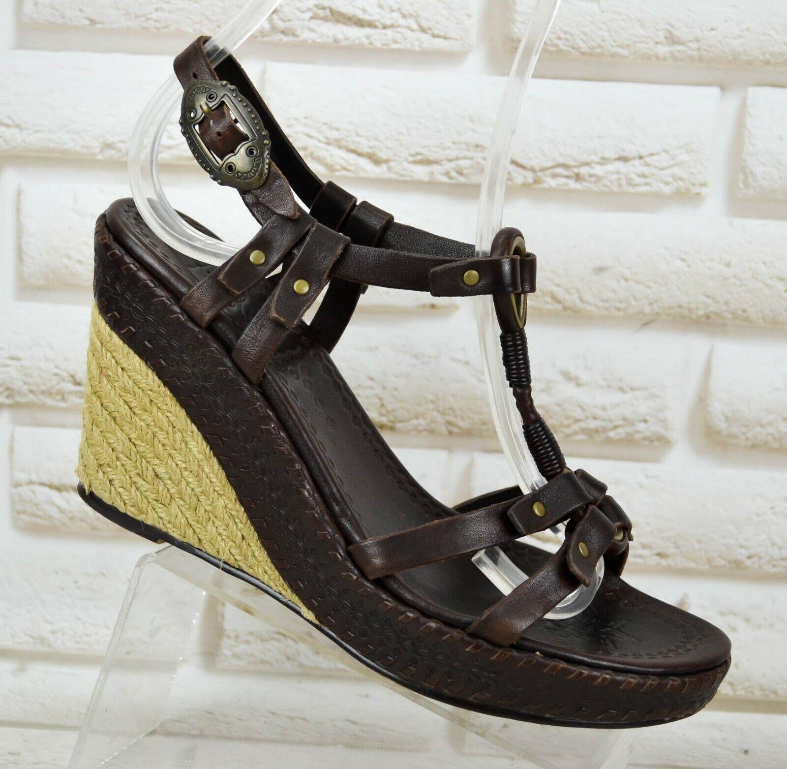 ASH braun Leather damen Wedge Casual Summer schuhe Sandals Heels Größe 5 UK 38 EU