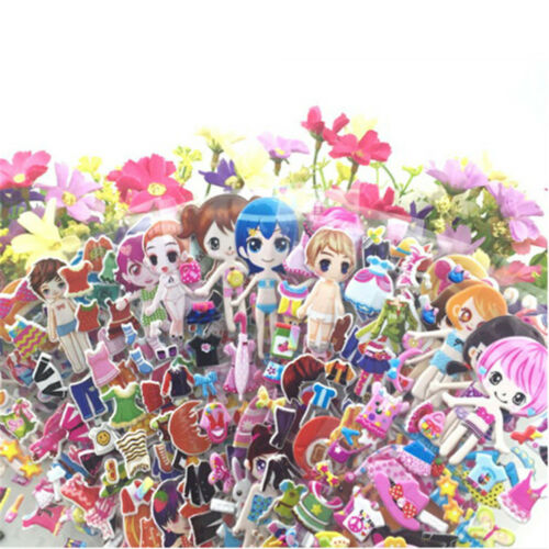 5 Sheets 3D Puffy Bubble Stickers Toys Dress up Girl Changing Clothes Kids Toy D