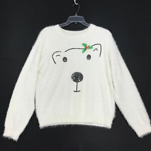 Holiday-Time-SOFT-Fuzzy-White-Polar-Bear-Sweater-Womens-XL-16-18-Christmas