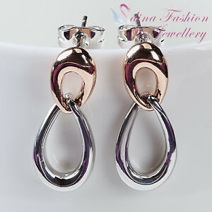 Image Is Loading 18k White Amp Rose Gold Plated Double Twisted