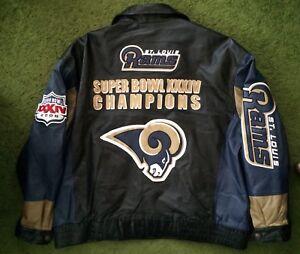 d6d2a30d Details about Vintage St Louis Rams Leather Jacket Super Bowl Champions G3  Carl Banks 4XL