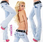 Sexy Women's Boot leg cut Jeans Hot Stretch Denim Size 6 8 10 12 14 XS S M L XL