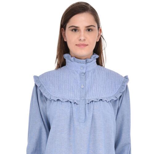 Blue Chambray Vittoriano Camicia da Notte manica lunga cotoneLane
