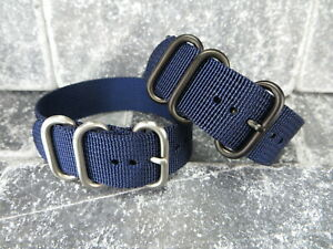 22mm Germany Ballistic Nylon Diver Strap 3 Rings Navy Blue Watch Band for Zulu