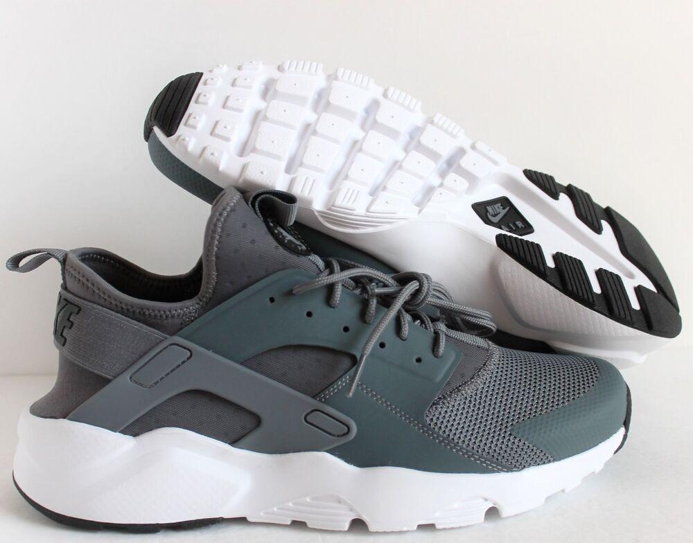 NIKE MEN AIR HUARACHE RUN ULTRA COOL GREY-Noir-Blanc Homme  Chaussures de sport pour hommes et femmes