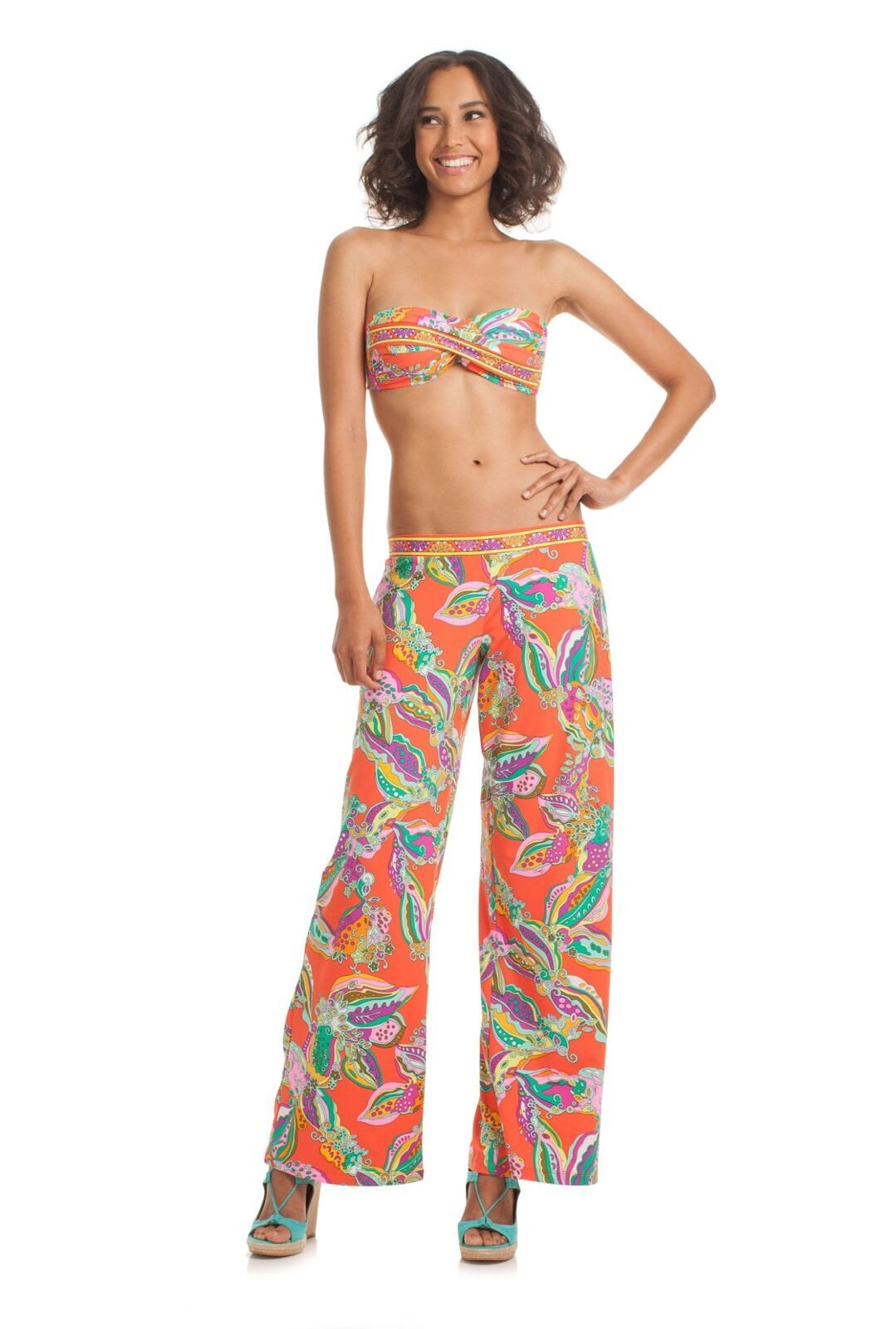 NWT  140 Sz stor Trina Turk Sea Garden Swim Cover Pants Tangerine