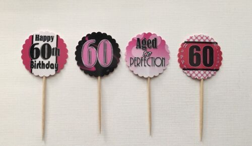 12 ct 60th Birthday Cupcake Topper Party Favors Party Table Decor #2