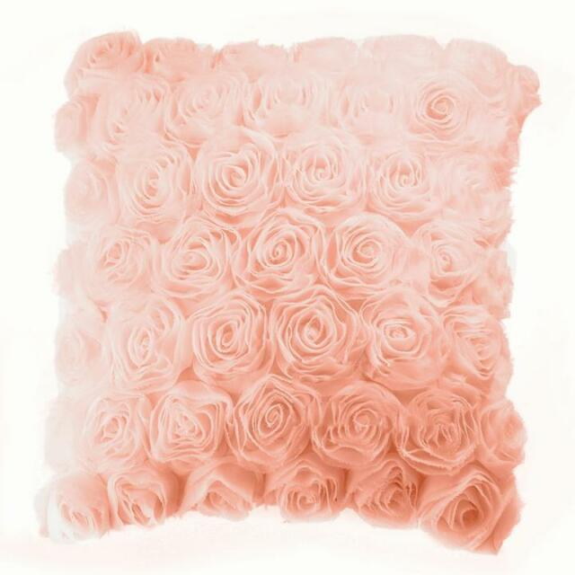 White 40cm Rose Square Pillow Cushion Case Cover Bed Bedroom Decorative Special