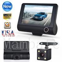 New Dual Lens 4'' HD 1080P Vehicle Car Dash Cam Rear Video Camera Recorder DVR