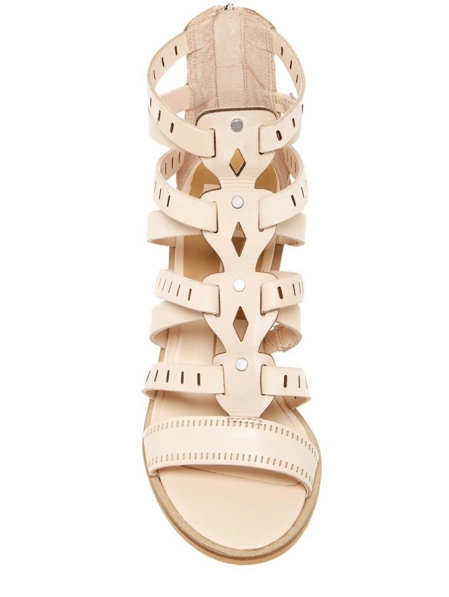 NEW DOLCE VITA Sz 6 LAIN BLOCK HEEL STRAPPY OPEN TOE CUTOUT SANDALS NUDE