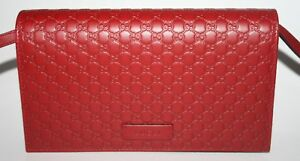 23bf0d3d58c1a NIB GUCCI GG MICRO GUCCISSIMA CROSSBODY WALLET IN RED LEATHER 466507 ...
