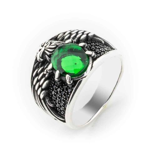 Emerald Stone Turkish Jewelry Eagle design 925 Sterling Silver Men Ring ALL SİZE