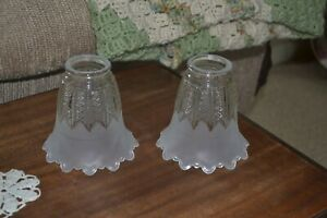 Pair of Frosted amp Clear Glass Ceiling Fan Chandelier Light