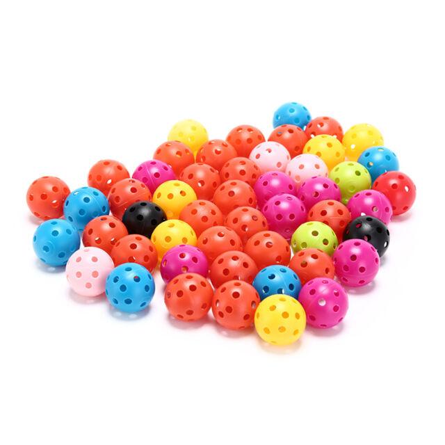 50 Stücke Kunststoff Luftstrom Hohl Golfball Indoor Praxis Trainingsbälle   HL