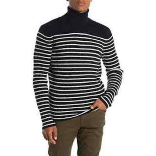 Vince 100% Cashmere Stripe Turtleneck Breton Ribbe