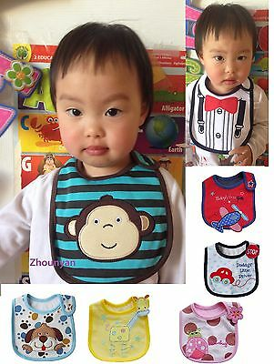 1X NEW Baby girl Boy Infant Kids Waterproof Cotton Bibs 3 layer Feeding Towel