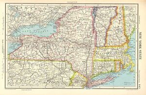 Details about 1952 MAP ~ UNITED STATES ~ NEW YORK STATE BUFFALO  MASSACHUSETTS VERMONT