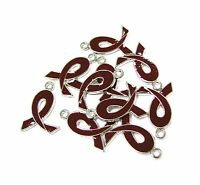 10 Pcs Brown Ribbon Colon-rectal Cancer Enamel Charms 21mm X15mm