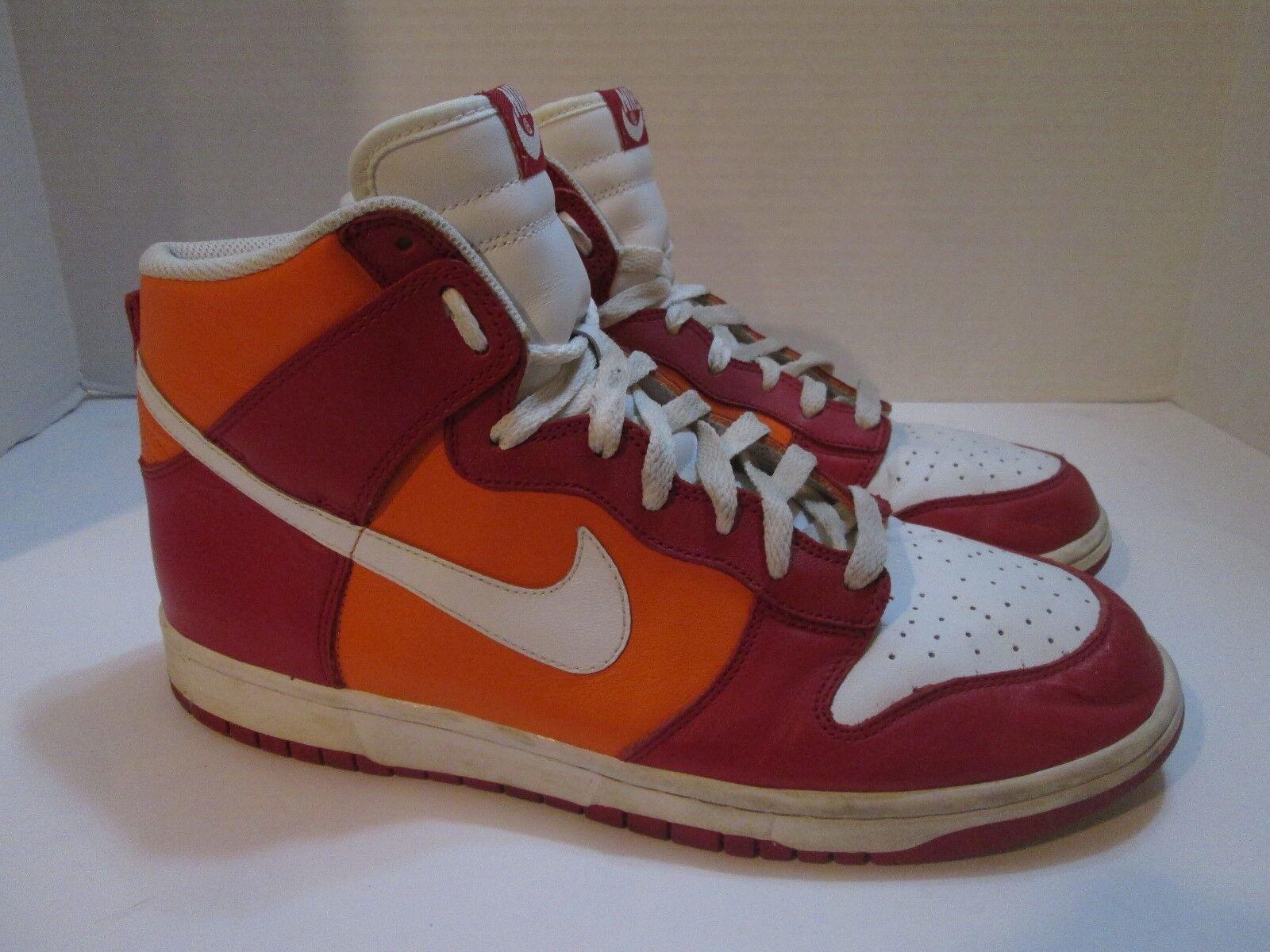 Nike Men's Dunk Retro QS High Top Basketball Shoes White Orange Red Size 11