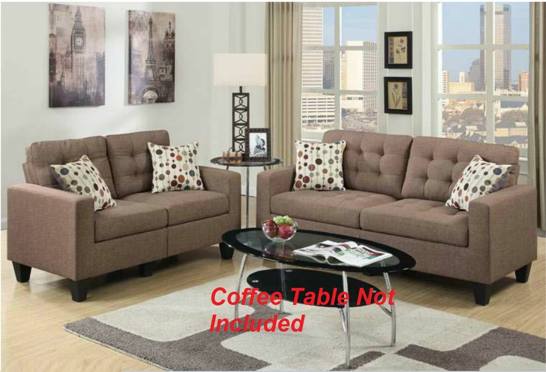 Modern Living Room 2pc Sofa Set Sofa Loveseat Light Coffee Color w Pillows  Couch