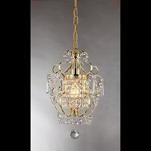 SMALL CHANDELIER CRYSTAL 1 LIGHT Gold Finish Ceiling Hang