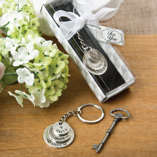 Love, Hope, And Faith Stacked Disc Design Keychain