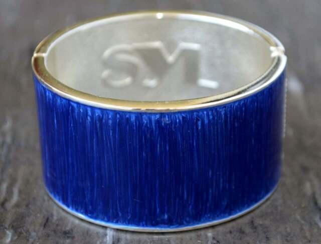 SAL Y LIMON SYL Armreif Armband blau silberfarben Armspange Emaille NEU