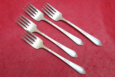 4 Vintage Rogers /& Bro Paisley Silverplate Flatware Grille Forks