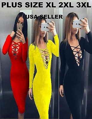 Plus Women Club Dress Pencil Midi Bodycon Party Cross Halter yellow black red