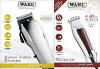 Wahl Chrome Super Taper Hair Cutting Machine + Wahl Wide Detailer Hair Trimmer